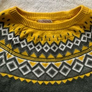 Merona lightweight sweater - grey and yellow S